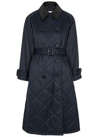 BARBOUR BY ALEXACHUNG Delia navy double-breasted quilted shell coat ~ dark blue belted coats