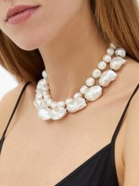 SOPHIE BUHAI Baroque-pearl & sterling-silver necklace / large statement pearls / double strand choker necklaces