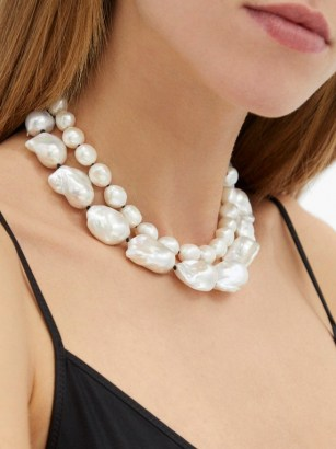 SOPHIE BUHAI Baroque-pearl & sterling-silver necklace / large statement pearls / double strand choker necklaces - flipped
