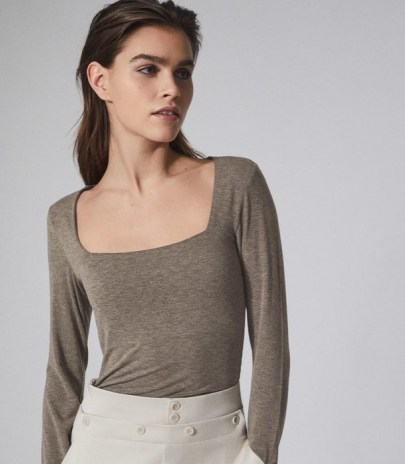 REISS BEA SQUARE NECK JERSEY TOP NEUTRAL ~ neutrals ~ wardrobe essentials ~ long sleeve tops - flipped