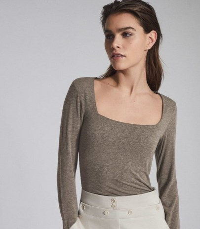 REISS BEA SQUARE NECK JERSEY TOP NEUTRAL ~ neutrals ~ wardrobe essentials ~ long sleeve tops