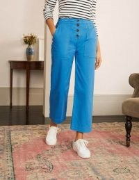 BODEN Beaufort Button Fly Trousers in Bold Blue / bright ankle grazer pants