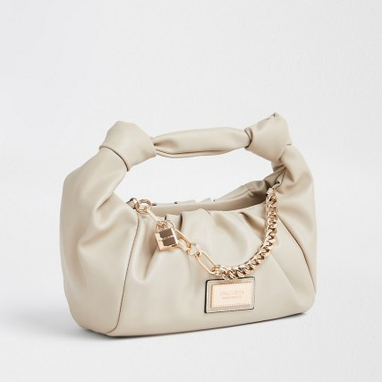 RIVER ISLAND Beige double knot chain ruched bag – small neutral grab bags - flipped