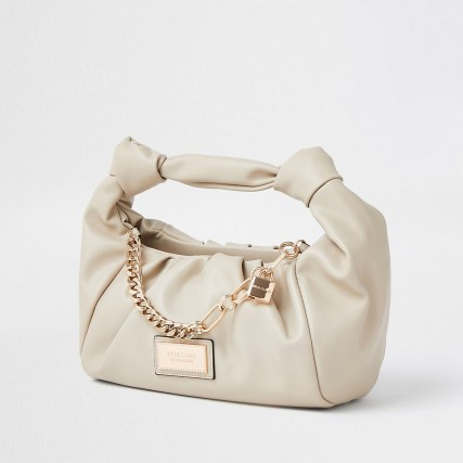 RIVER ISLAND Beige double knot chain ruched bag – small neutral grab bags