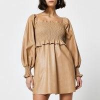 RIVER ISLAND Beige faux leather shirred mini dress – gathered bodice dresses