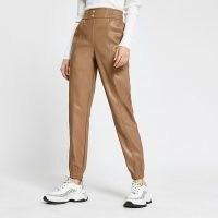 RIVER ISLAND Beige faux leather slim leg joggers