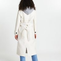 River Island Beige hooded trench coat | belted coats with hood