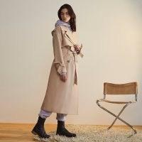 RIVER ISLAND Beige RI Studio longline trench coat ~ modern classic coats with a tie detail sleeve