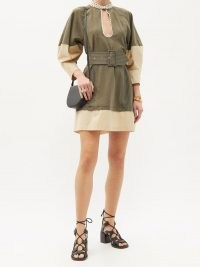 CHLOÉ Belted topstitched mini dress ~ khaki-green and beige volume sleeve dresses ~ chic boho clothing