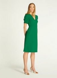 L.K. BENNETT BETTINA GREEN CREPE FIT AND FLARE DRESS / short sleeve dresses