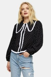 TOPSHOP Black And White Oversized Spot Collar Top / monochrome blouses