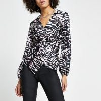RIVER ISLAND Black animal print twist front shirt / monochrome blouse