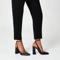 RIVER ISLAND Black ankle tie block heels / square toe ankle strap pumps
