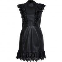 RIVER ISLAND Black faux leather cutwork frill mini dress – frill trim dresses