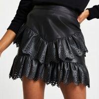 RIVER ISLAND Black faux leather cutwork frill mini skirt – ruffled skirts