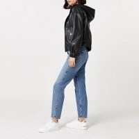 RIVER ISLAND Black faux leather hooded zip up jacket – casual jackets with hoods