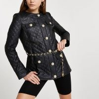 River Island Black faux leather longline quilted jacket – designer inspired collarless quilt detail jackets