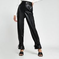 RIVER ISLAND Black faux leather tie bottom trousers – ankle ties