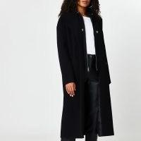 RIVER ISLAND Black hooded wool coat ~ hoodie coats