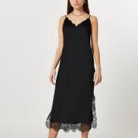 RIVER ISLAND Black lace hem slip midi dress ~ skinny strap cami dresses with scalloped edges and side slit hems