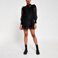 RIVER ISLAND Black lace shirt dress ~ victorian style fashion ~ semi sheer dresses ~ volume sleeves ~ high neck