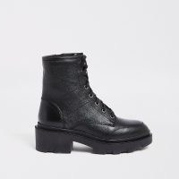 RIVER ISLAND Black lace up back tab boots