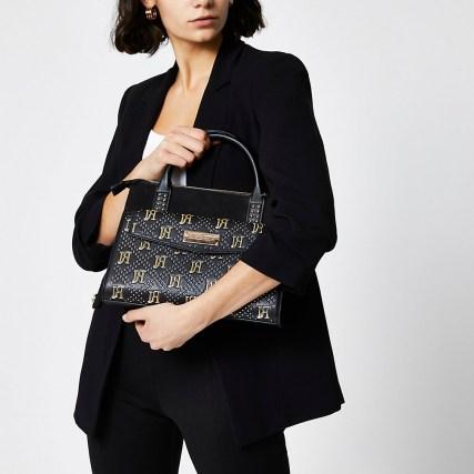 RIVER ISLAND Black RI stud tote bag – studded grab bags – top handle handbags - flipped