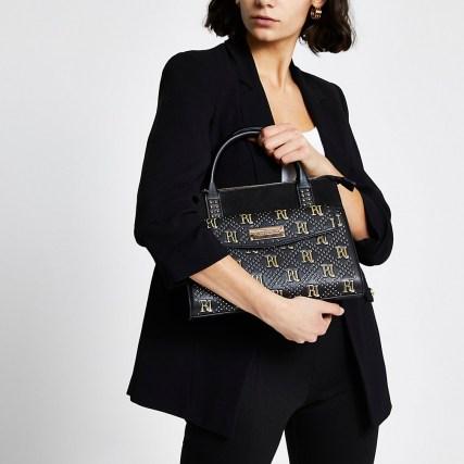 RIVER ISLAND Black RI stud tote bag – studded grab bags – top handle handbags