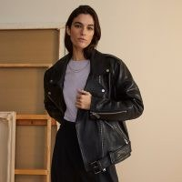 RIVER ISLAND Black RI Studio leather biker jacket ~ oversized casual jackets with zip detailing and silver hardwear