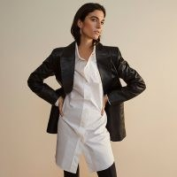 RIVER ISLAND Black RI Studio leather fitted blazer ~ luxe single breasted jacket ~ blazers
