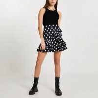 River Island Black spot frill detail mini skirt | ruffled skirts
