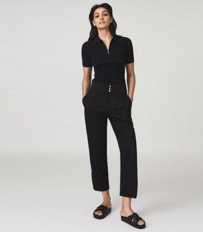 REISS BLAIR ZIP DETAIL TAPERED FIT TROUSERS BLACK / smart crop leg pants - flipped