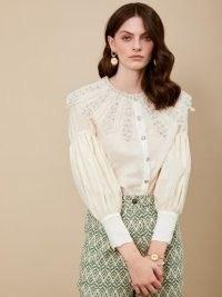 sister jane Spin the Wheel Embellished Shirt – gathered sleeve shirts – oversized collar blouse