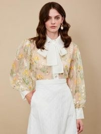 sister jane Carnival Embellished Bow Blouse – sheer floral embroidered blouses – pussy bow