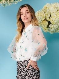 sister jane Dainty May Embroidered Blouse | floral sheer sleeve blouses | volume sleeves