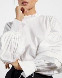 TED BAKER JAICCE Blouson sleeve ruffle neck top – white frill detail tops