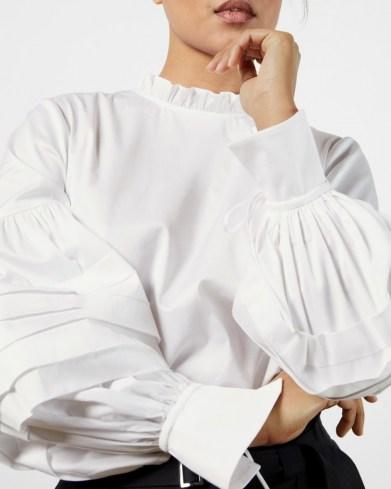 TED BAKER JAICCE Blouson sleeve ruffle neck top – white frill detail tops - flipped
