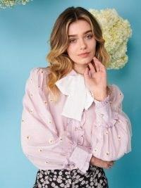 sister jane Pick a Petal Bow Blouse   floral balloon sleeve blouses   vintage style fashion