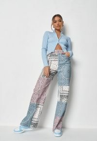 MISSGUIDED blue co ord bandana print colourblock patchwork trousers – mixed paisley and floral prints