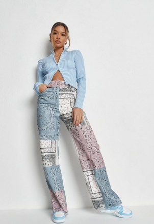 MISSGUIDED blue co ord bandana print colourblock patchwork trousers – mixed paisley and floral prints - flipped