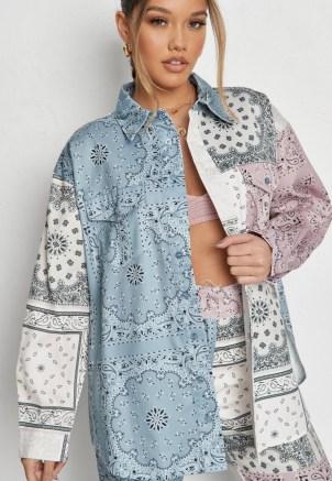 MISSGUIDED blue co ord bandana print colourblock shirt – multi prints – mixed print shirts - flipped