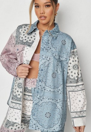 MISSGUIDED blue co ord bandana print colourblock shirt – multi prints – mixed print shirts