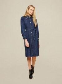 Dorothy Perkins Blue Fitted Denim Shirt Dress   tie waist button up dresses