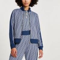 RIVER ISLAND Blue RI monogram jacquard zip through jacket ~ track jackets ~ sports fashion