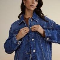 RIVER ISLAND Blue RI Studio denim jacket ~ classic casual button up jackets with a drop shoulder design