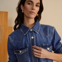 River Island Blue RI Studio long sleeve denim shirt   women's front pocket western shirts