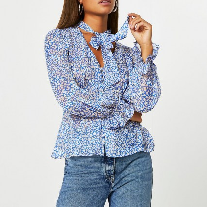 RIVER ISLAND Blue spot print tie bow blouse top – frill detail cuffs – neck tie blouses - flipped