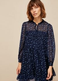 WHISTLES PAISLEY PRINTED DRESS / navy blue tiered dresses