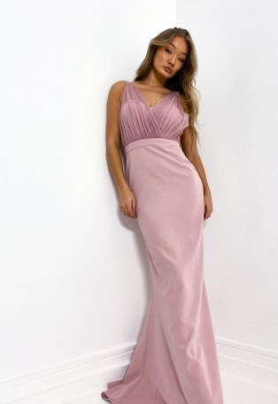 Missguided blush diamante strap organza gown | long party dresses | prom gowns | pink embellished bridesmaid dress - flipped