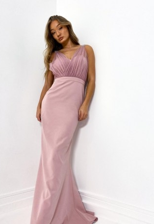 Missguided blush diamante strap organza gown | long party dresses | prom gowns | pink embellished bridesmaid dress